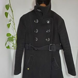 Soia & Kyo black long wool coat size small